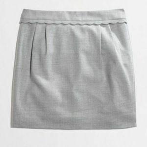 J. Crew gray scallop trim wool mini skirt